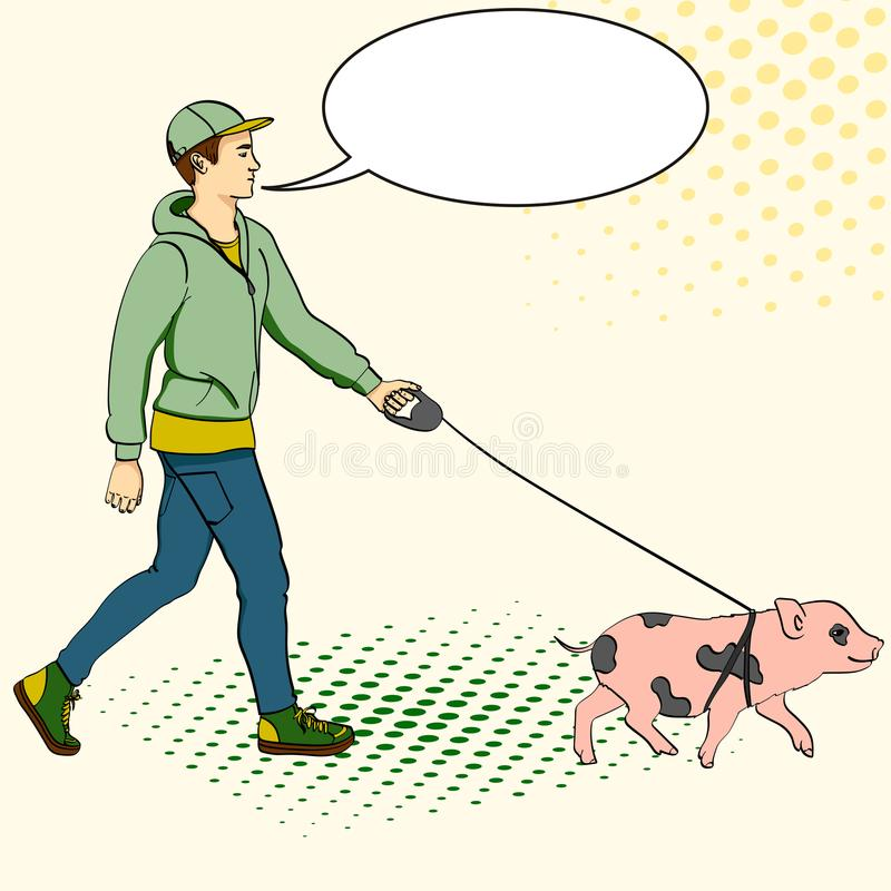 Pop art man walking a mini pig. Vector of an imitation comic style, retro. text bubble royalty free illustration
