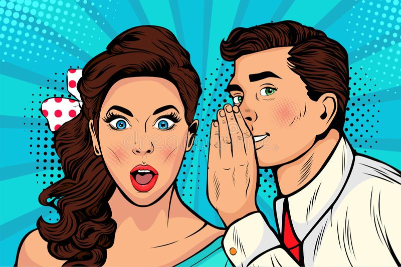 Pop art man whispering gossip or secret to his girlfriend or wife. Man whispering gossip or secret to his girlfriend or wife. Colorful illustration in pop art stock illustration