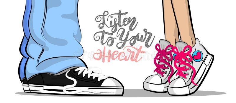 Pop art man woman sneakers kiss love cute stock illustration