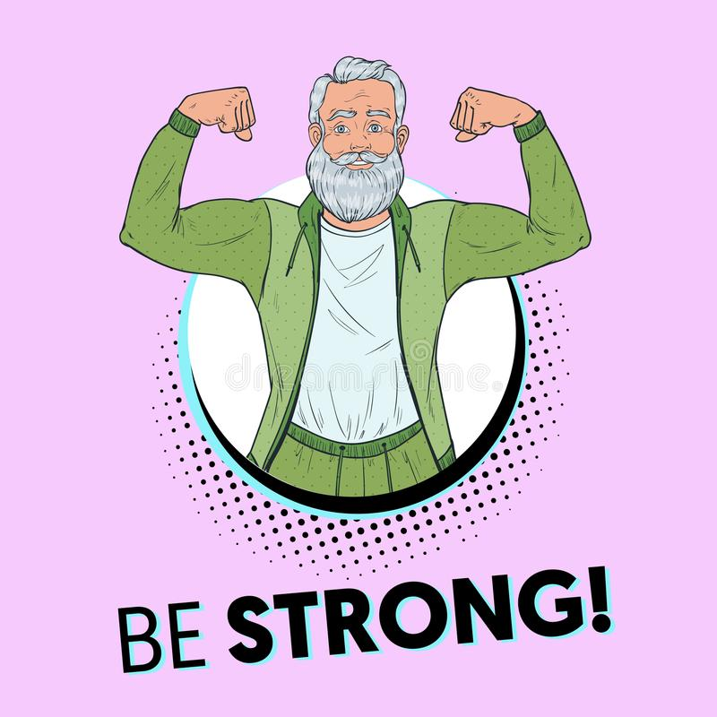 Pop Art Mature Senior Man Showing Muscles. Happy Strong Grandfather. Healthy Lifestyle Poster vector illustration