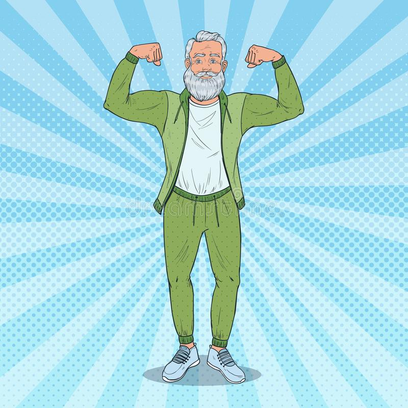 Pop Art Mature Senior Man Showing Muscles. Happy Strong Grandfather. Healthy Lifestyle. Vector illustration royalty free illustration