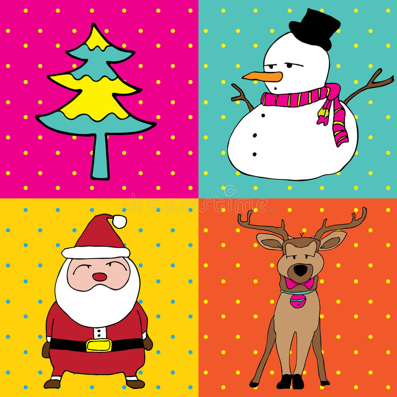 Download Pop Art Merry Christmas Four Elements Stock Vector