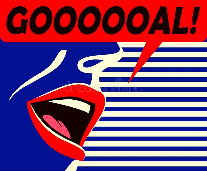 Minimal style mouth of soccer supporter shouting goal celebrating his team vector illustration royalty free illustration
