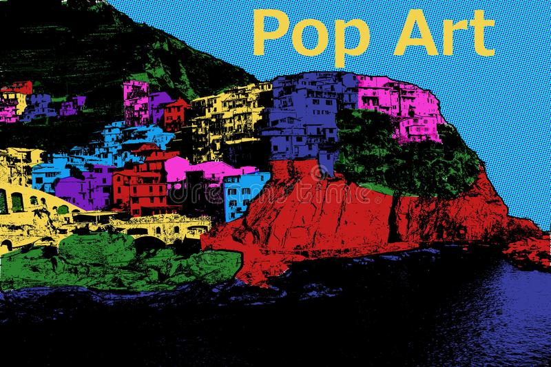Pop Art Mountain Village - Digital Illustration. The illustration shows a mountain village in pop art design. On the top at the right hand side is written the vector illustration