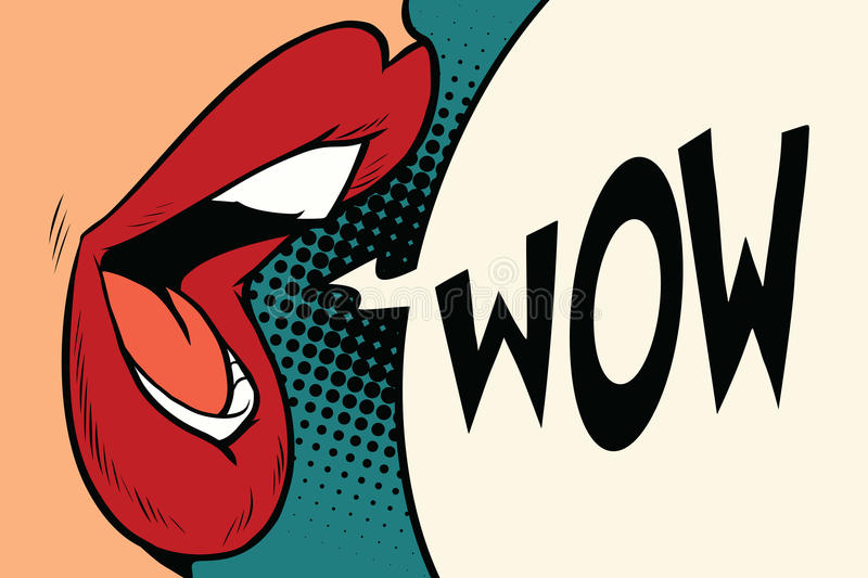 Pop art mouth wow vector illustration