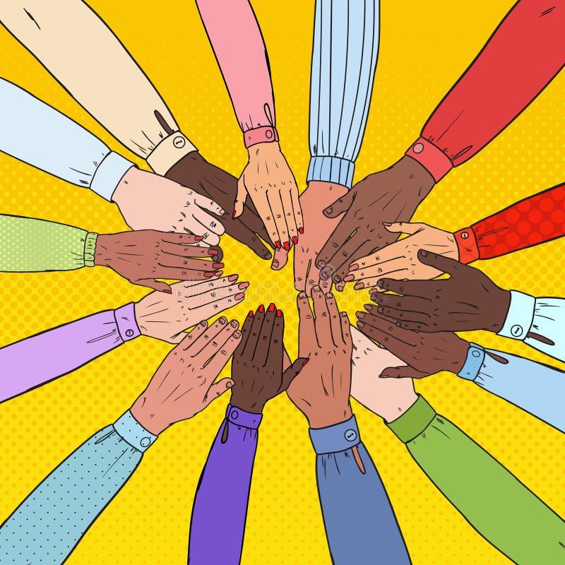 Pop Art Multicultural Hands. Multiethnic People Teamwork. Togetherness, Partnership, Friendship Concept. Vector illustration stock illustration