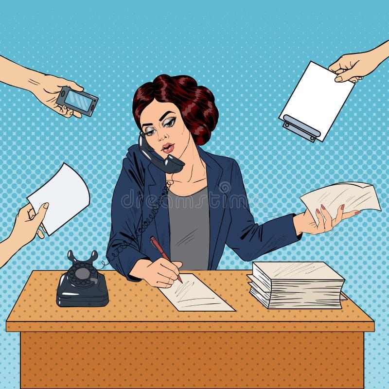 Pop Art Multitasking Busy Business Woman på kontorsarbete vektor illustrationer