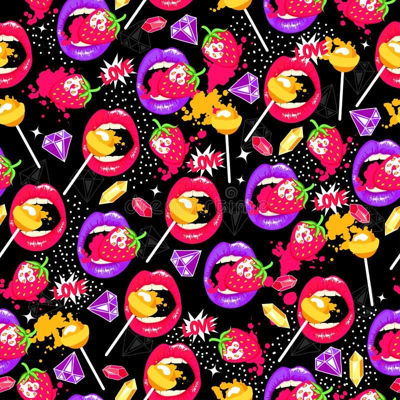 Pop-art naadloos patroon met lippen, aardbei, lollys, diamanten en liefde stock illustratie