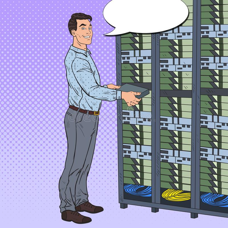 Pop Art Network Engineer Working with Hardware Data Center. Technicianin Build Server Database royalty free illustration