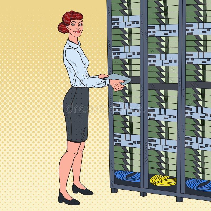 Pop Art Network Female Engineer in het Centrum van Hardwaregegevens Technicianin bouwt Servergegevensbestand royalty-vrije illustratie