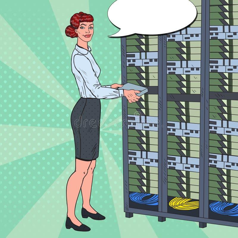 Pop Art Network Female Engineer Working med maskinvarudatorhallen Databas för Technicianin byggandeserver stock illustrationer