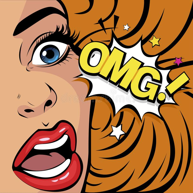 Pop art omg woman in emotions feelings of psychological stress or shock. News and gossip. OMG the woman in shock. Emotions feelings of psychological stress stock illustration