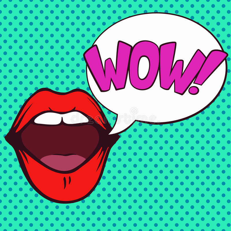 Pop art open mouth with wow bubble. stock photography