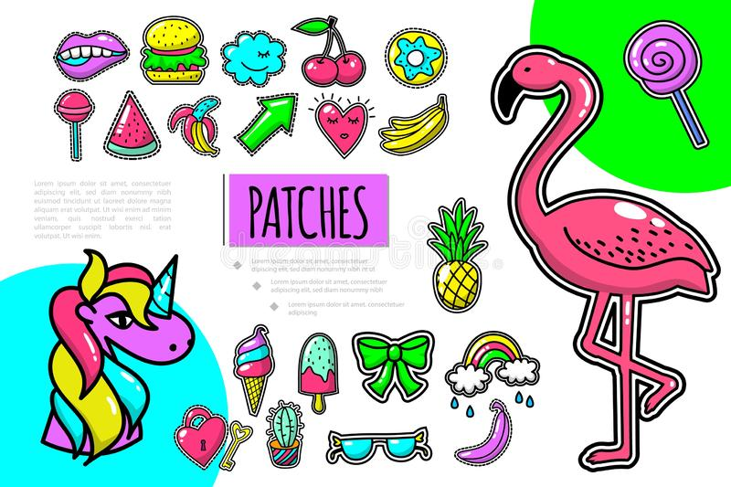 Pop Art Patches Composition. With flamingo unicorn fruits bow rainbow eyeglasses key burger cherry donut mouth lollipop vector illustration vector illustration