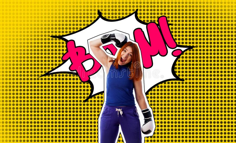 Pop art portrait of a woman in boxing gloves royalty free stock photo