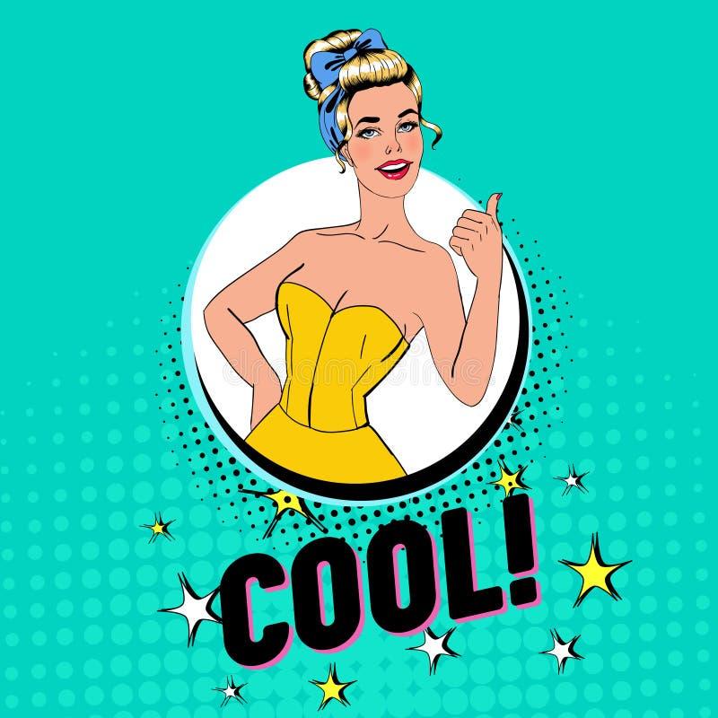 Pop Art Pretty Blonde Woman Posing met Duim ondertekent omhoog Blije Meisjes Uitstekende Affiche Pin Up Advertising Placard Banne vector illustratie