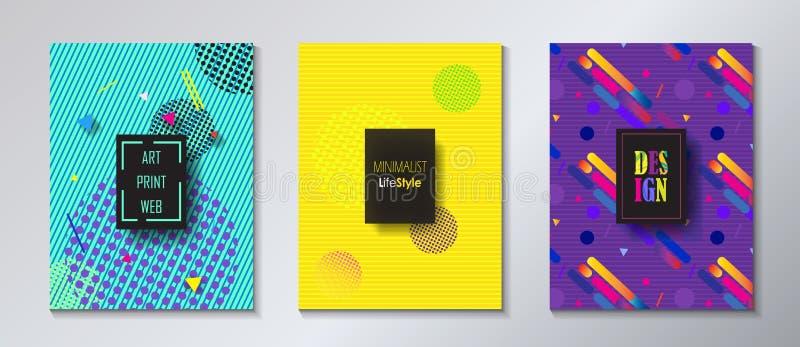 Pop Art Print Web Minimalist Brochure set vector illustration