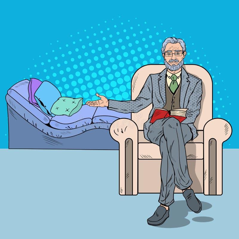 Pop Art Psychotherapy Visit med den höga psykoterapeuten royaltyfri illustrationer