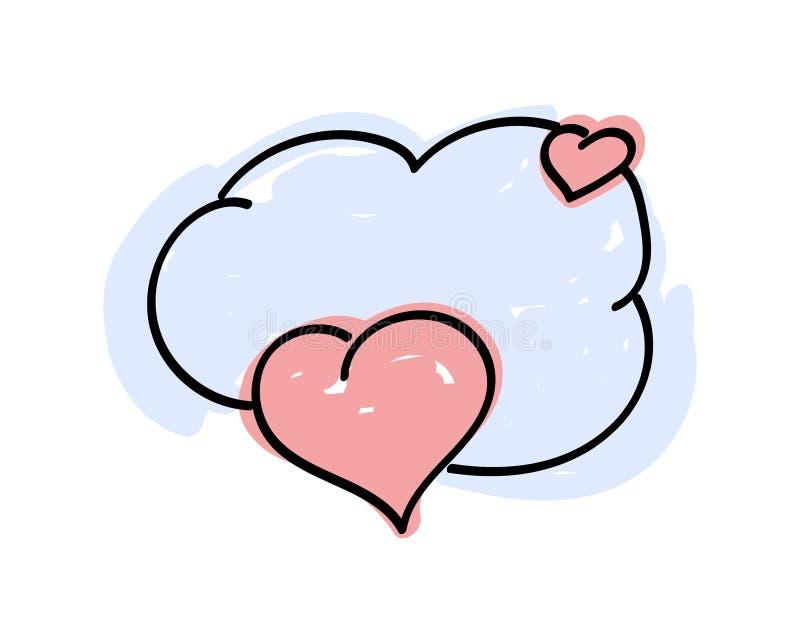 Pop art różowe serca z bańką mowy do tekstu Chmura komiksowa lodu ilustracji