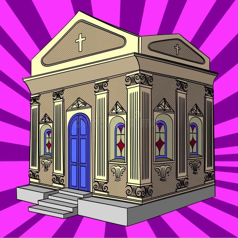 Pop art raster. Crypt, cemetery, church, building. Pop art raster illustration. Crypt, cemetery church building royalty free illustration