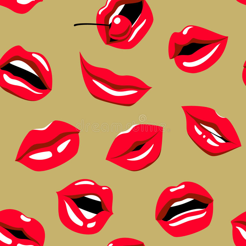 Pop-art red lips with red cherry on gold background - seamless pattern. vector illustration
