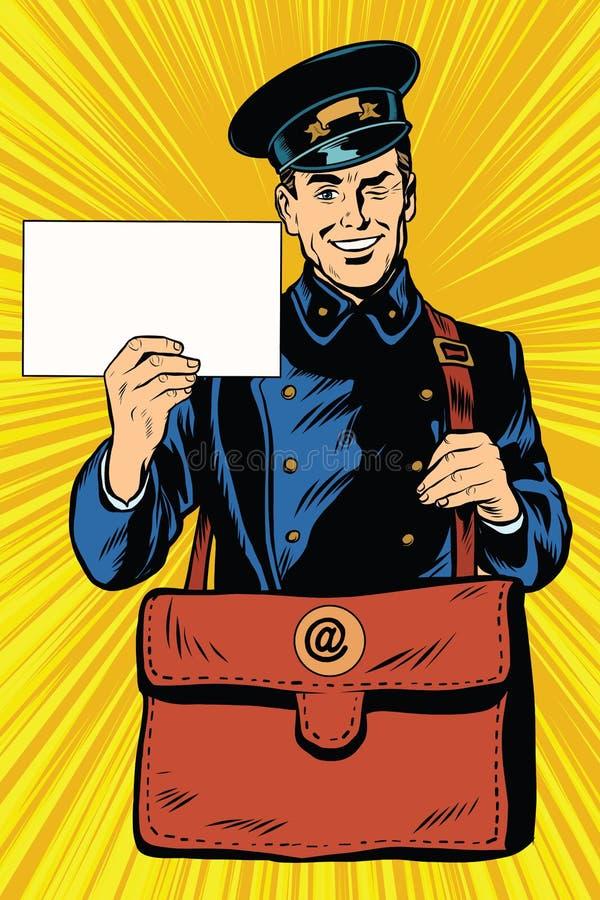 Pop art retro alegre do carteiro ilustração do vetor