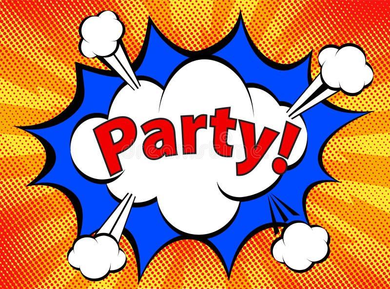 Pop Art retro comic icon Party on dot background stock illustration