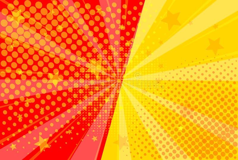 Pop art retro comic. Yellow and red background. Versus lightning blast halftone dots. Cartoon vs. Vector Illustration. Pop art retro comic. Yellow and red royalty free illustration