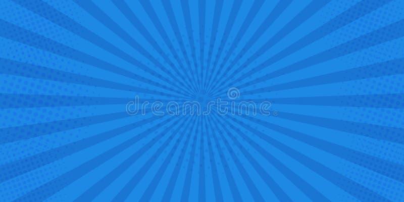 Pop-art retro grappig Blauwe superhero als achtergrond Halftone punten van de bliksemontploffing Beeldverhaal versus Vector illus royalty-vrije illustratie