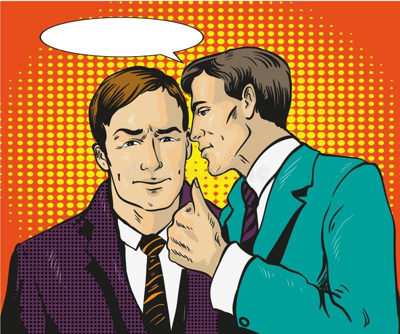 Pop-art retro grappige vectorillustratie Twee zakenmanbespreking aan elkaar De mens vertelt bedrijfsgeheim zijn vriend toespraak vector illustratie