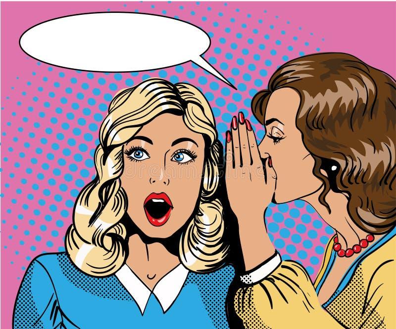 Pop-art retro grappige vectorillustratie Vrouw het fluisteren roddel of geheim aan haar vriend stock illustratie
