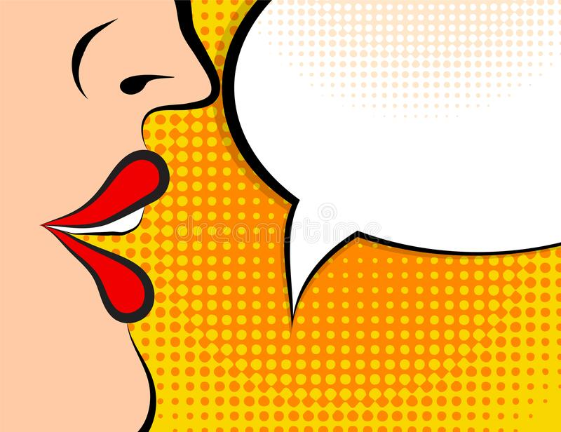 Pop art retro style comic book panel with girl talking nonsense. Small talk chatter in speech bubble vector poster design illustration stock illustration