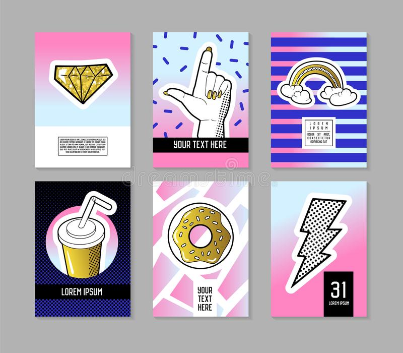 Pop Art Retro Style Posters Set. Trendy Fashion Banners with Badges and Patches for Placards, Covers Design, Invitations. Advertising. Vector illustration stock illustration