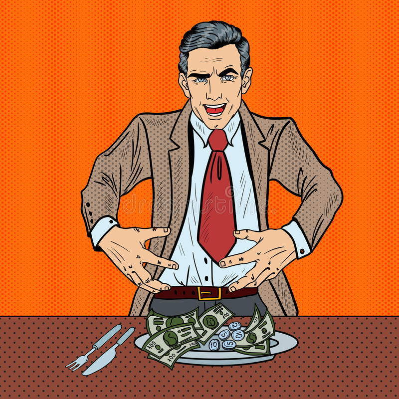 Download Pop Art Rich Greedy Businessman Eating Money On The Plate Stock Vector - Image: 83719978