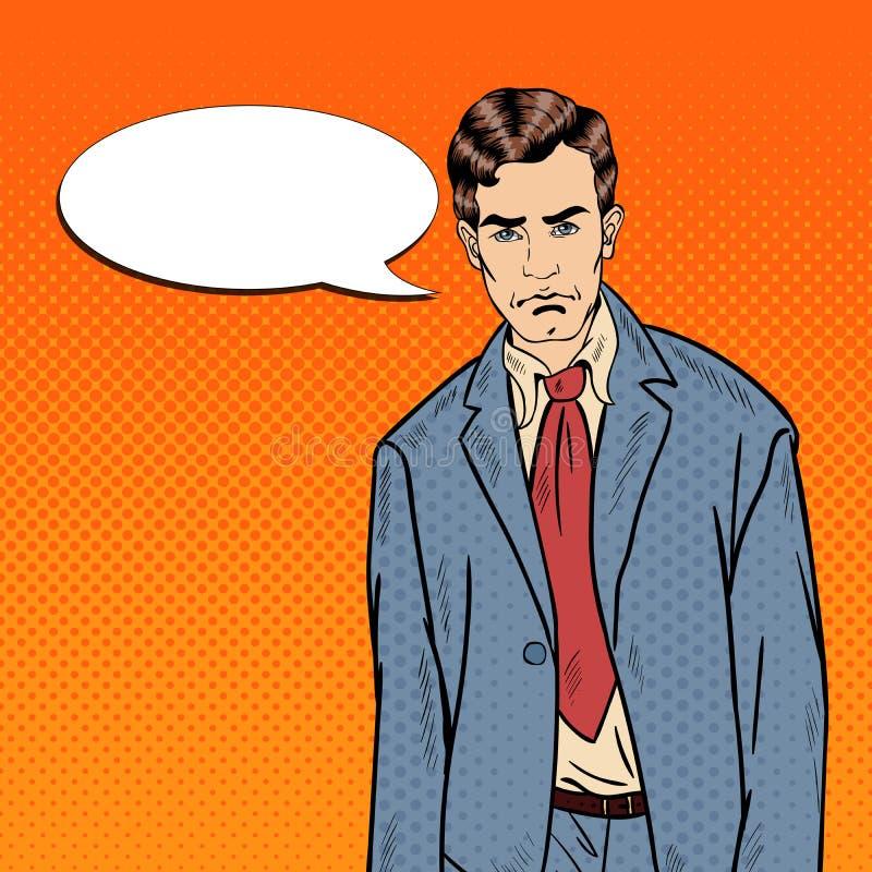 Pop Art Sad Depressed Businessman med den komiska anförandebubblan vektor illustrationer