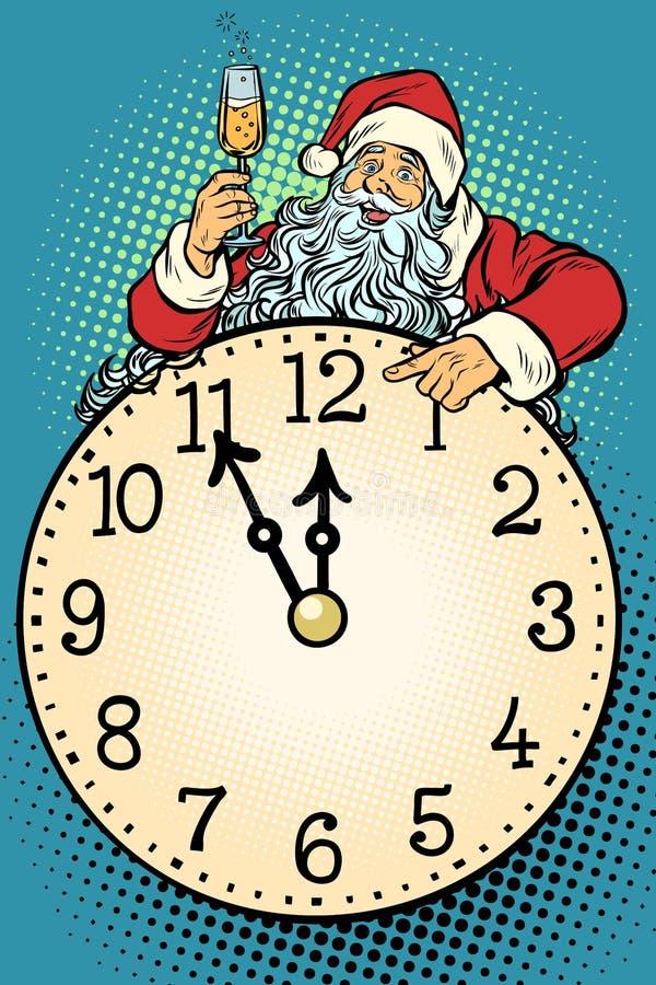 Pop art Santa Claus, tempo do Natal Celebração de Champagne no MI ilustração stock