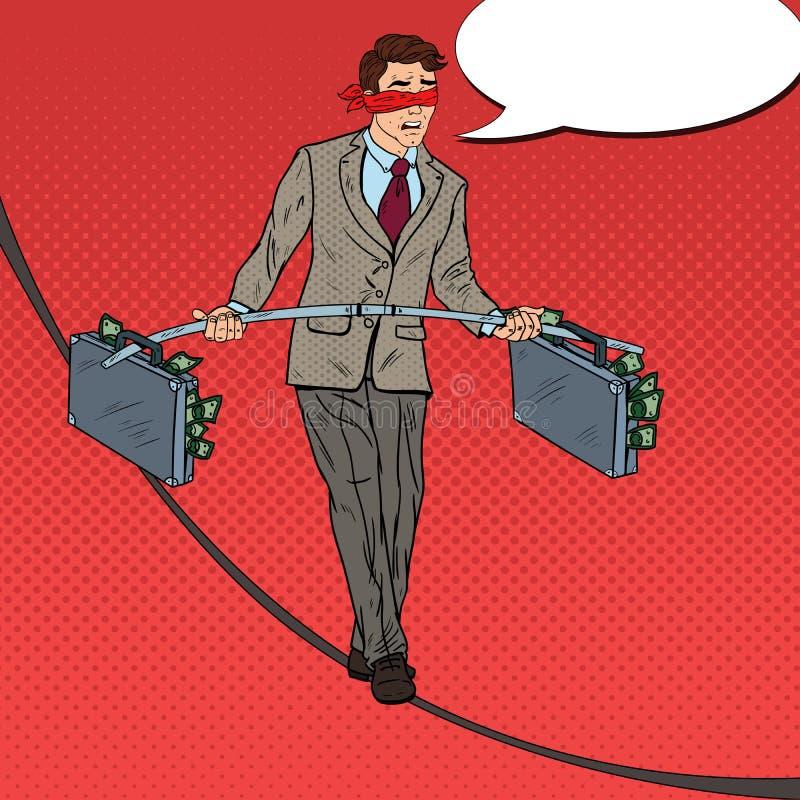 Pop Art Scared Businessman Walking på repet med portföljen för två pengar Investeringrisk