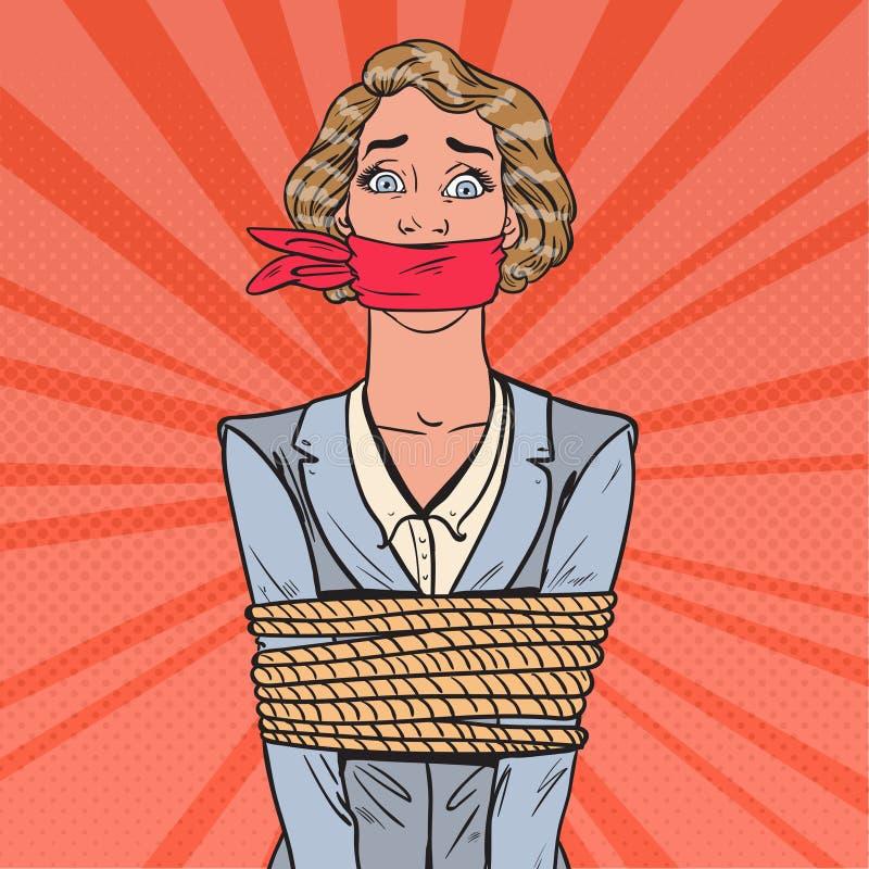 Pop Art Scared Businesswoman Tied Up med repet Affärsproblem vektor illustrationer