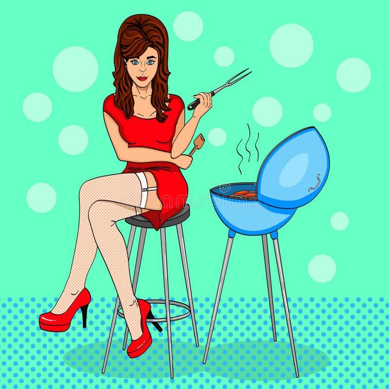 Pop-Art Schöner Mädchenkoch Komische Art Eine Frau sitzt nahe dem Grill Vektor lizenzfreie abbildung