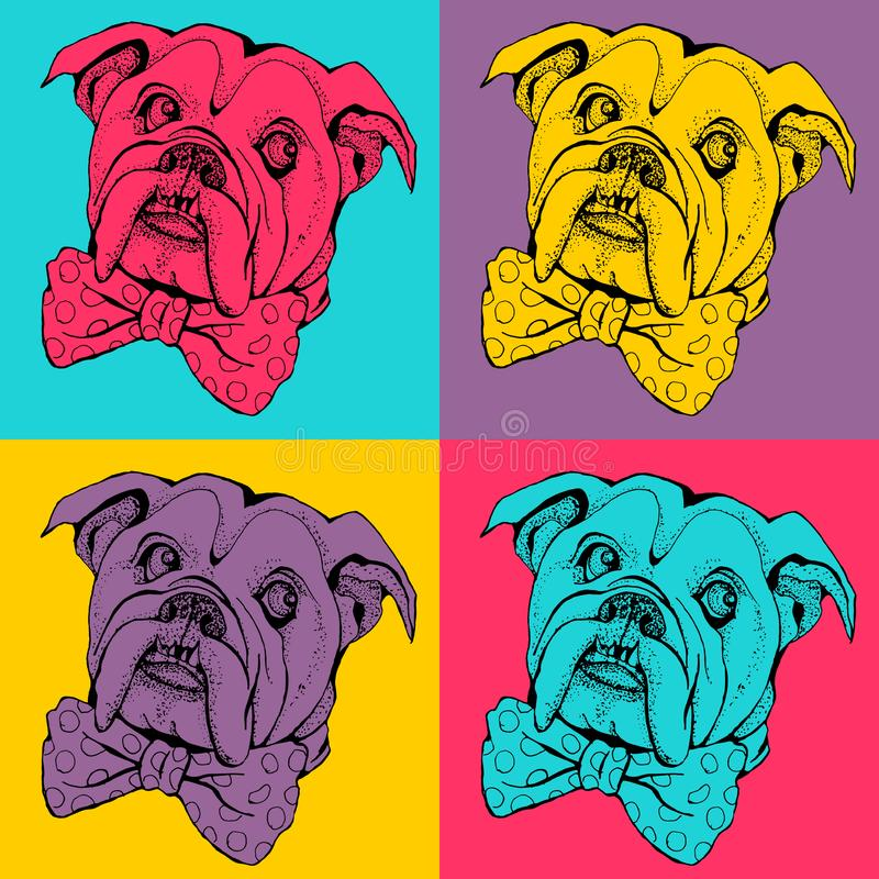 Pop art seamless pattern. Portrait of dog Bulldog. royalty free illustration