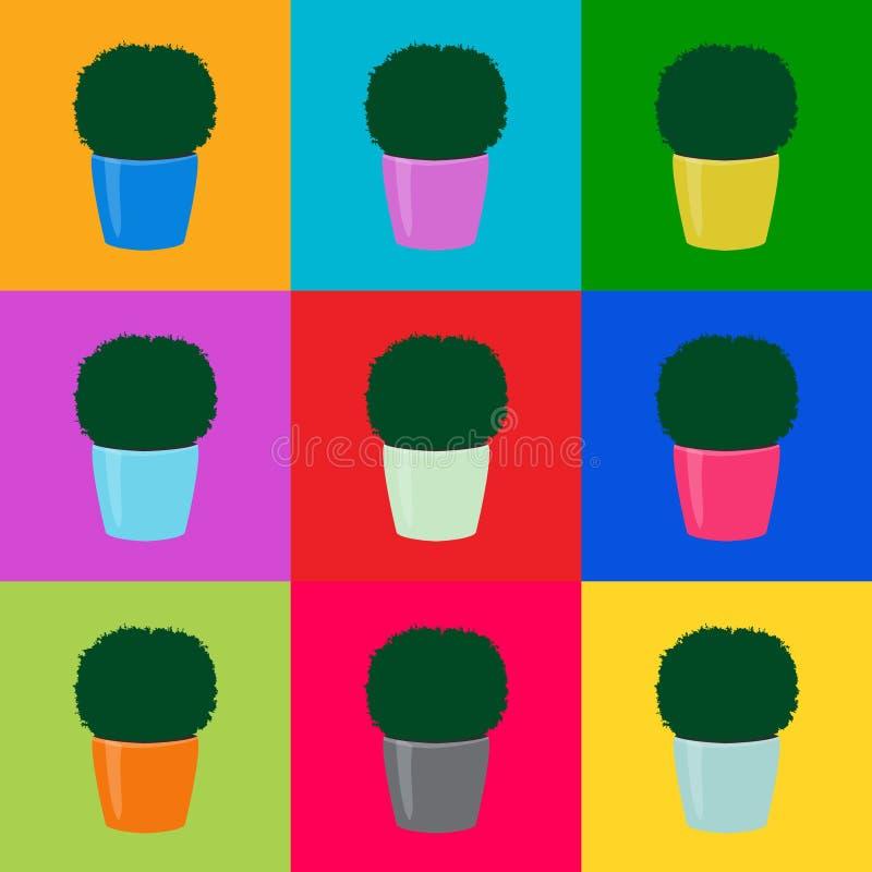 Pop art sem emenda das árvores do topiary do verde do teste padrão, vetor eps 10 ilustração royalty free