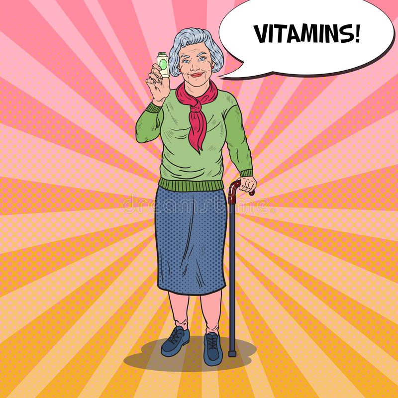 Pop Art Senior Happy Woman med vitaminer isolerade fängelsekunder för armomsorg hälsa vektor illustrationer
