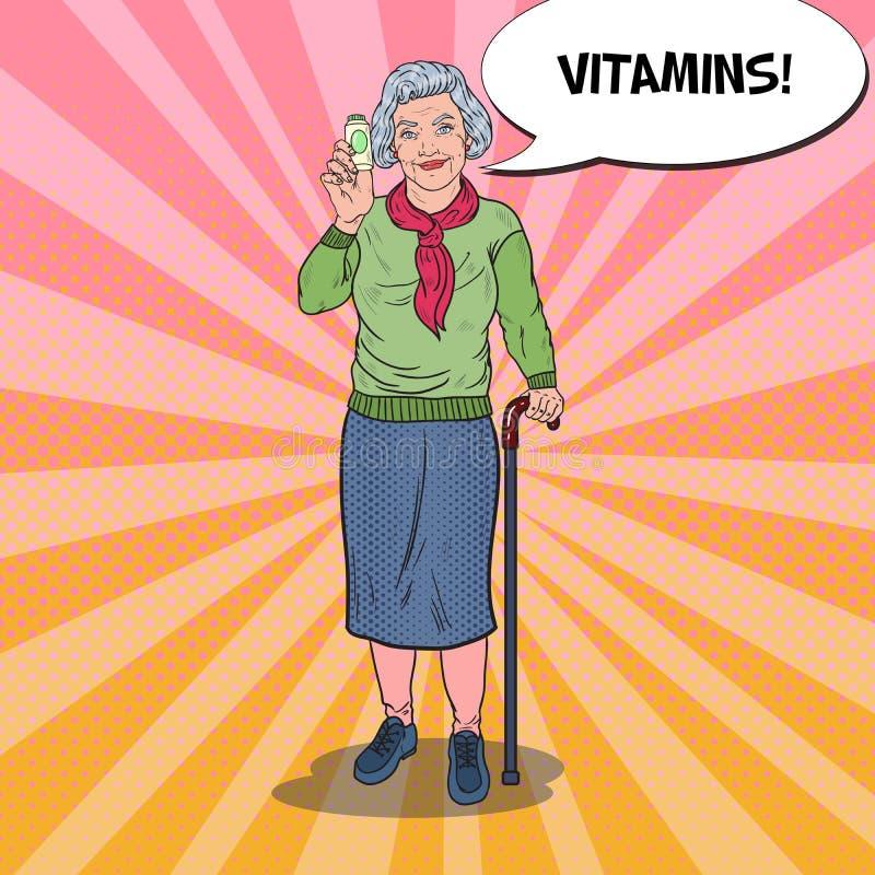 Pop Art Senior Happy Woman med vitaminer isolerade fängelsekunder för armomsorg hälsa vektor illustrationer