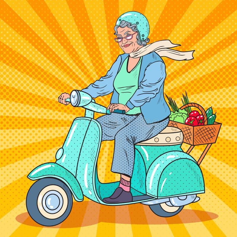 Pop Art Senior Woman Riding Scooter. Lady Biker. Vector illustration royalty free illustration
