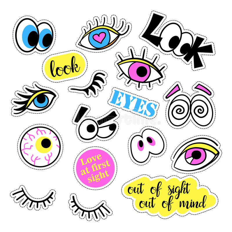 Pop art set with fashion patch badges and different eyes. Stickers, pins, patches, quirky, handwritten notes collection. 80s-90s style. Trend. Vector vector illustration