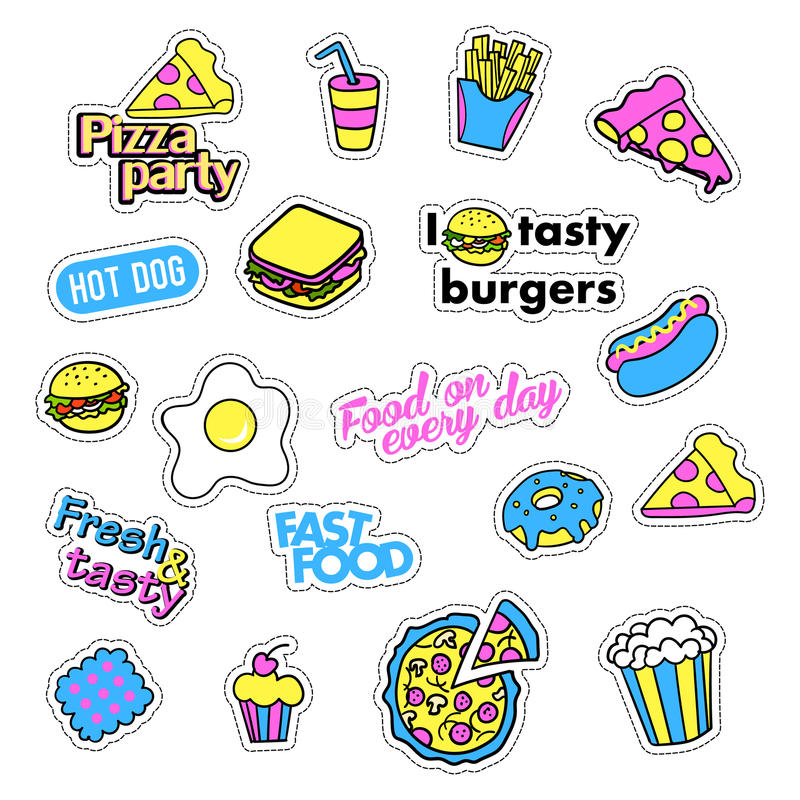 Pop art set with fashion patch badges and different fast food elements. Stickers, pins, patches, quirky, handwritten. Pop art set with fashion patch badges and royalty free illustration