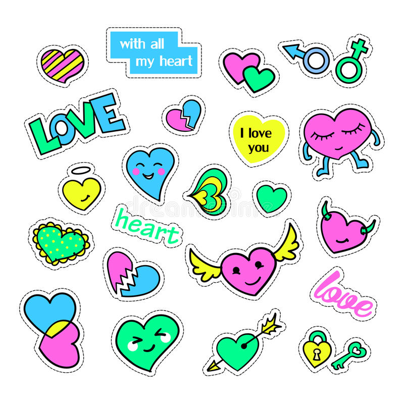 Pop art set with fashion patch badges and different hearts. Stickers, pins, patches, quirky, handwritten notes. Collection. 80s-90s style. Trend. Vector stock illustration