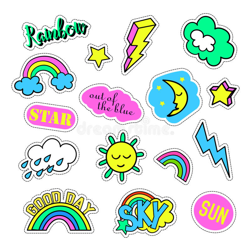 Pop art set with fashion patch badges and different sky elements. Stickers, pins, patches, quirky, handwritten notes stock illustration