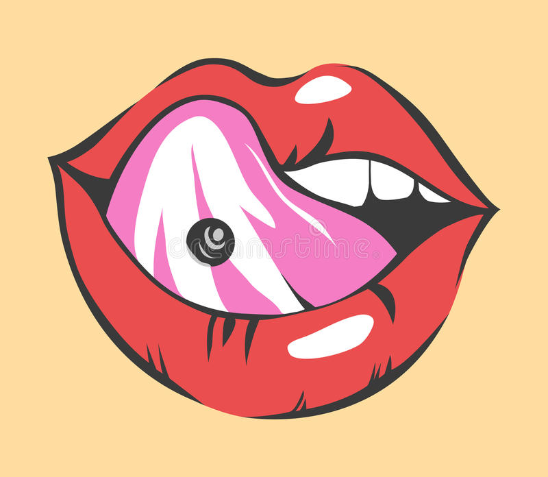 Pop Art Lips With Piercing . Vector Object vector illustration