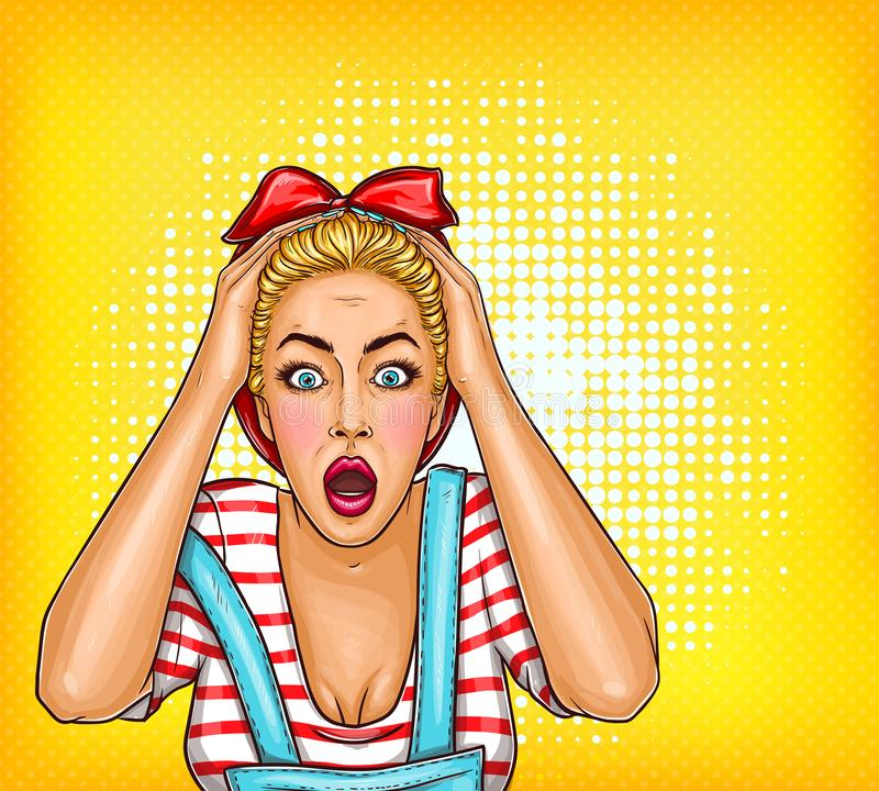 pop art pin up shocked, surprised blonde girl with opened mouth. Sale illustration, discount, advertising poster vector illustration